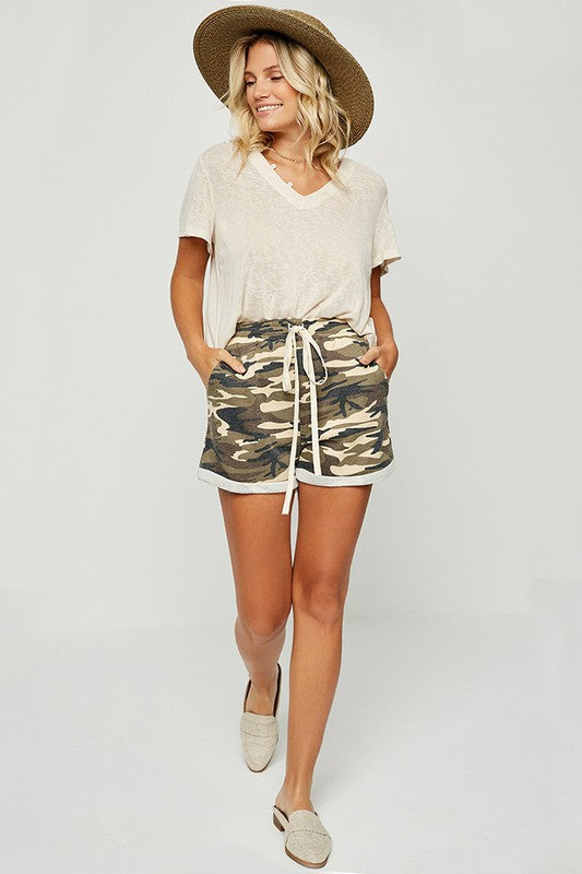 Camo Drawstring Shorts - Bottoms - Hayden LA - MOD&SOUL