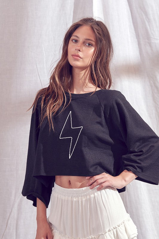 Lighting Bolt Cropped Top - Top - STORIA - MOD&SOUL