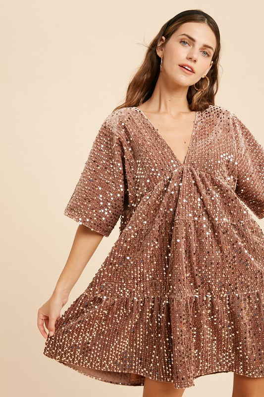 Sequin Velvet Tiered Dress - Dress - wishlist - MOD&SOUL
