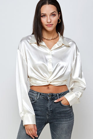 Ruched Sheer Sleeve Top