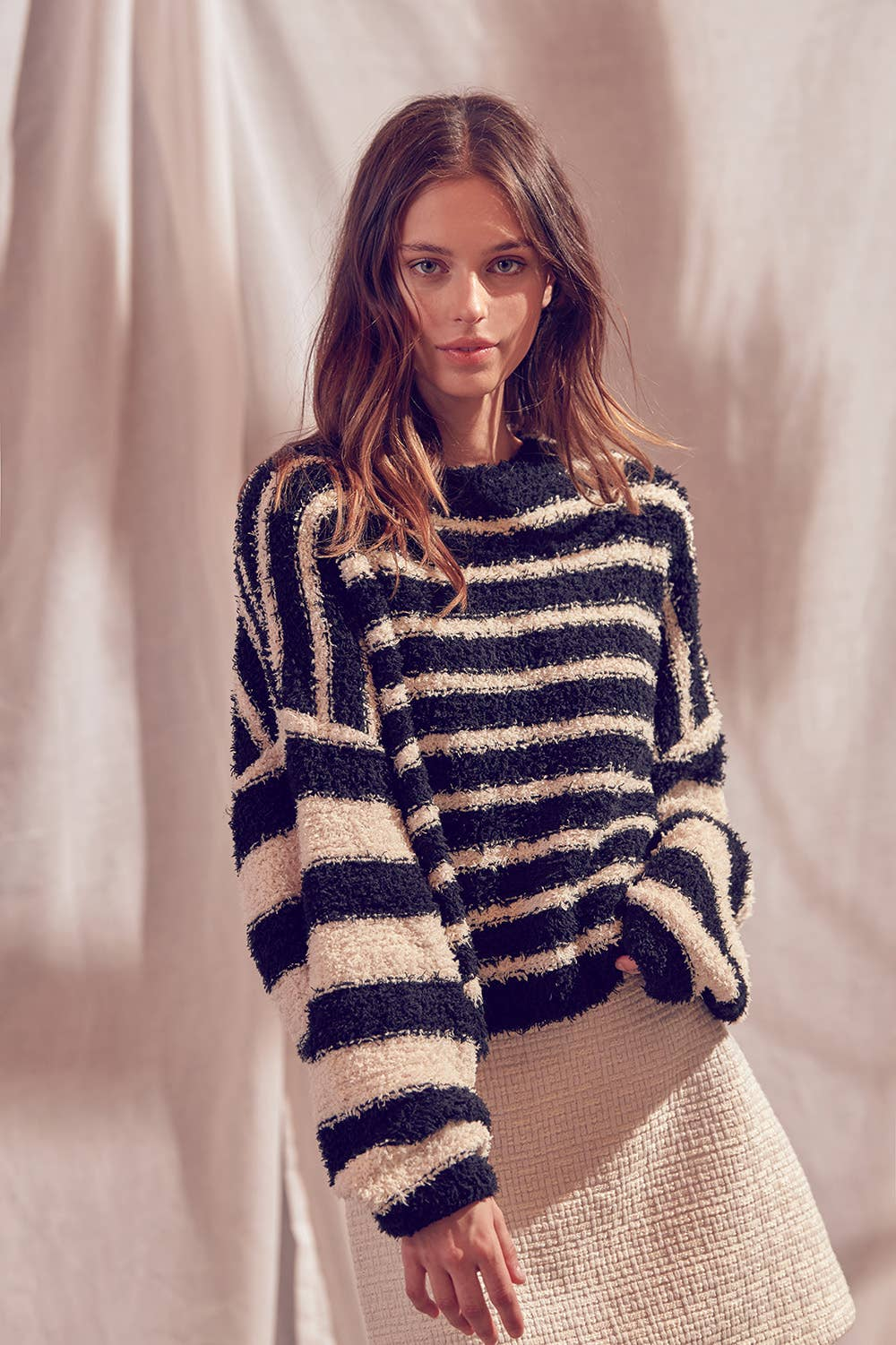 Fuzzy Striped Pullover Sweater - Top - STORIA - MOD&SOUL