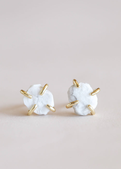 JaxKelly - White Howlite Gemstone Prong Earrings -  - JaxKelly - MOD&SOUL
