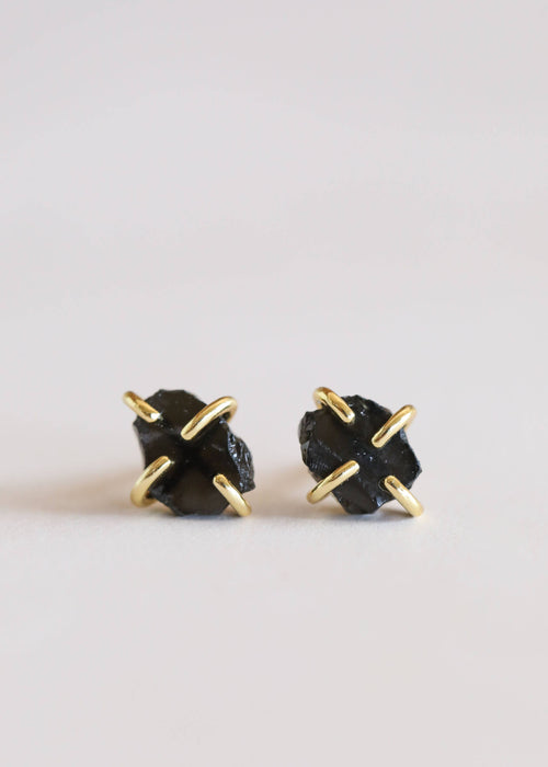 JaxKelly - Obsidian Gemstone Prong Earrings -  - JaxKelly - MOD&SOUL