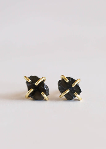 Polished Concrete Glass Hexagon Drop Earrings