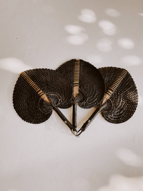Village Thrive - Woven Paradisio Fan in Black - Large - home - Village Thrive - MOD&SOUL