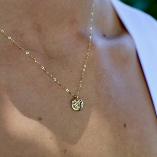 "Katie Waltman Jewelry - Single Petite Coin On 18"" Chain - jewelry - Katie Waltman Jewelry - MOD&SOUL"
