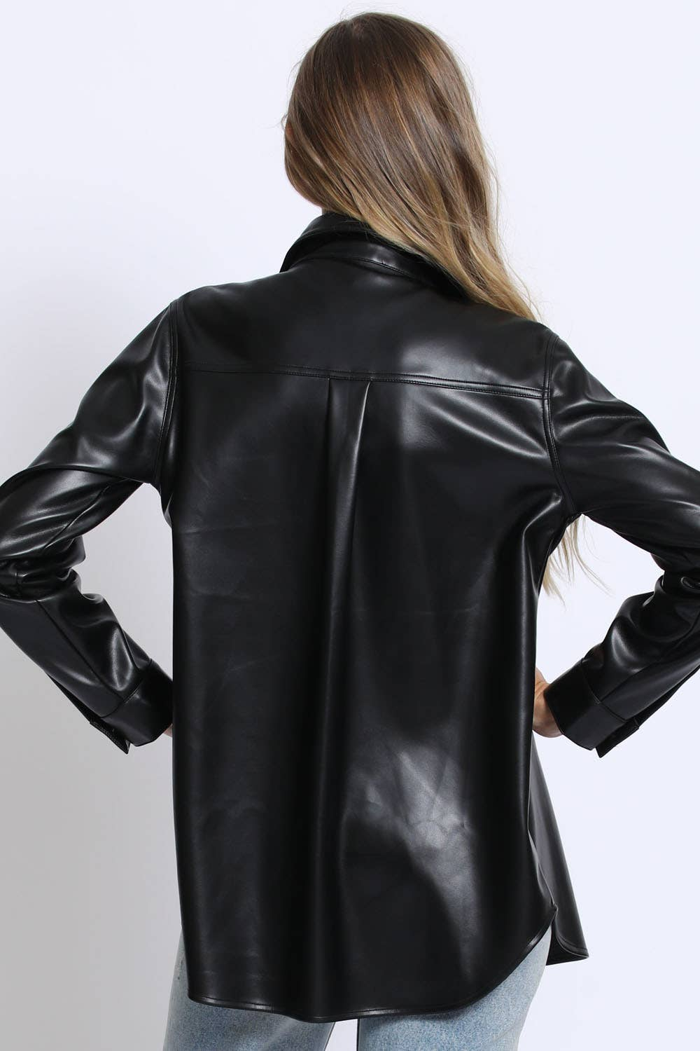 Vegan Leather Shacket - outerwear - Sans Souci - MOD&SOUL