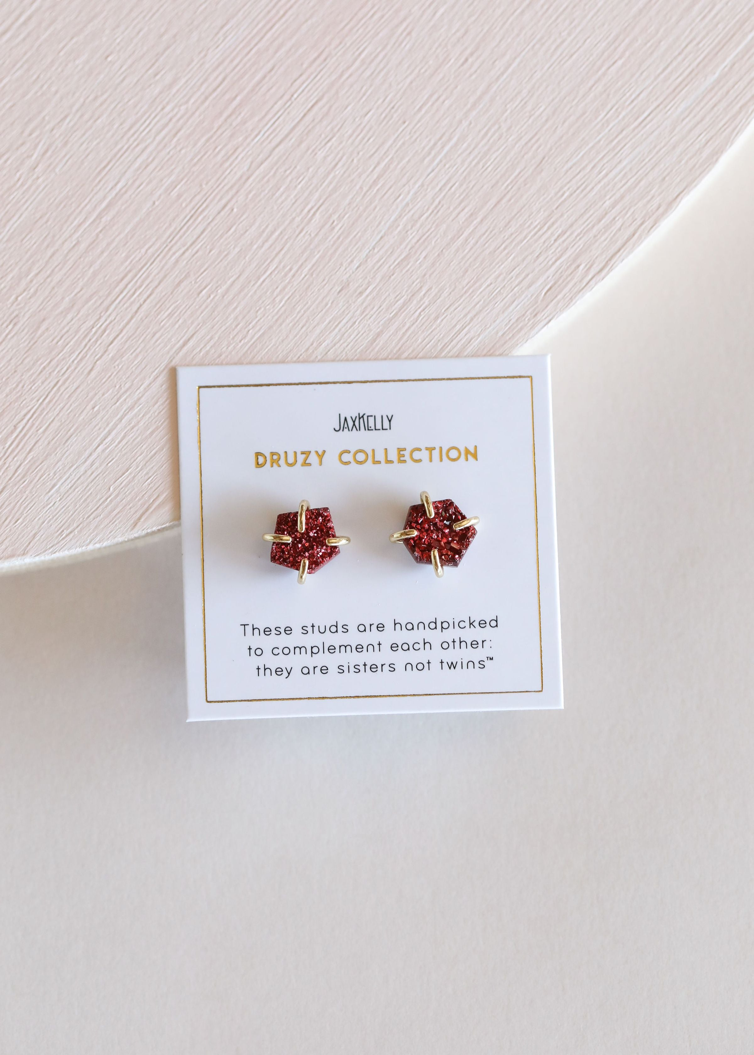 JaxKelly - Burgundy Prong Druzy - Earrings - JaxKelly - MOD&SOUL