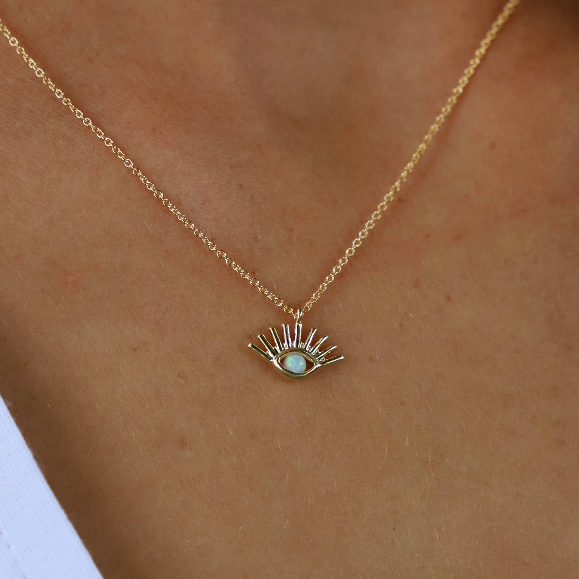 Katie Waltman Jewelry - Miniature Opal Evil Eye Silhouette Necklace - jewelry - Katie Waltman Jewelry - MOD&SOUL