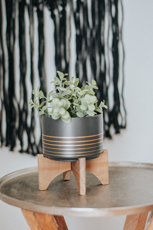Asher Ceramic Planter on Wood Stand - home - Flora Bunda Inc - MOD&SOUL