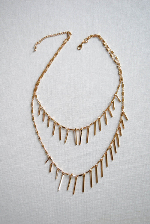 Gold Bar Fringe Necklace - Necklace - MOD&SOUL Vintage Style Contemporary Fashion Jewelry - MOD&SOUL