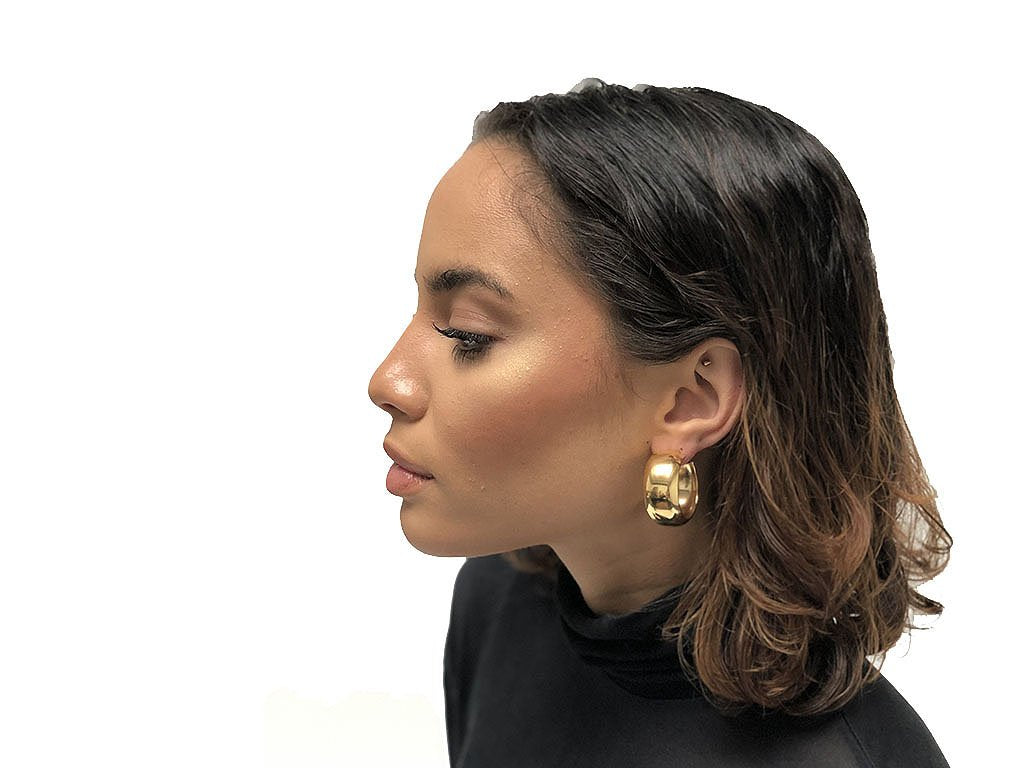 Maslo Jewelry Domed Hoop Earrings - jewelry - Maslo Jewelry - MOD&SOUL