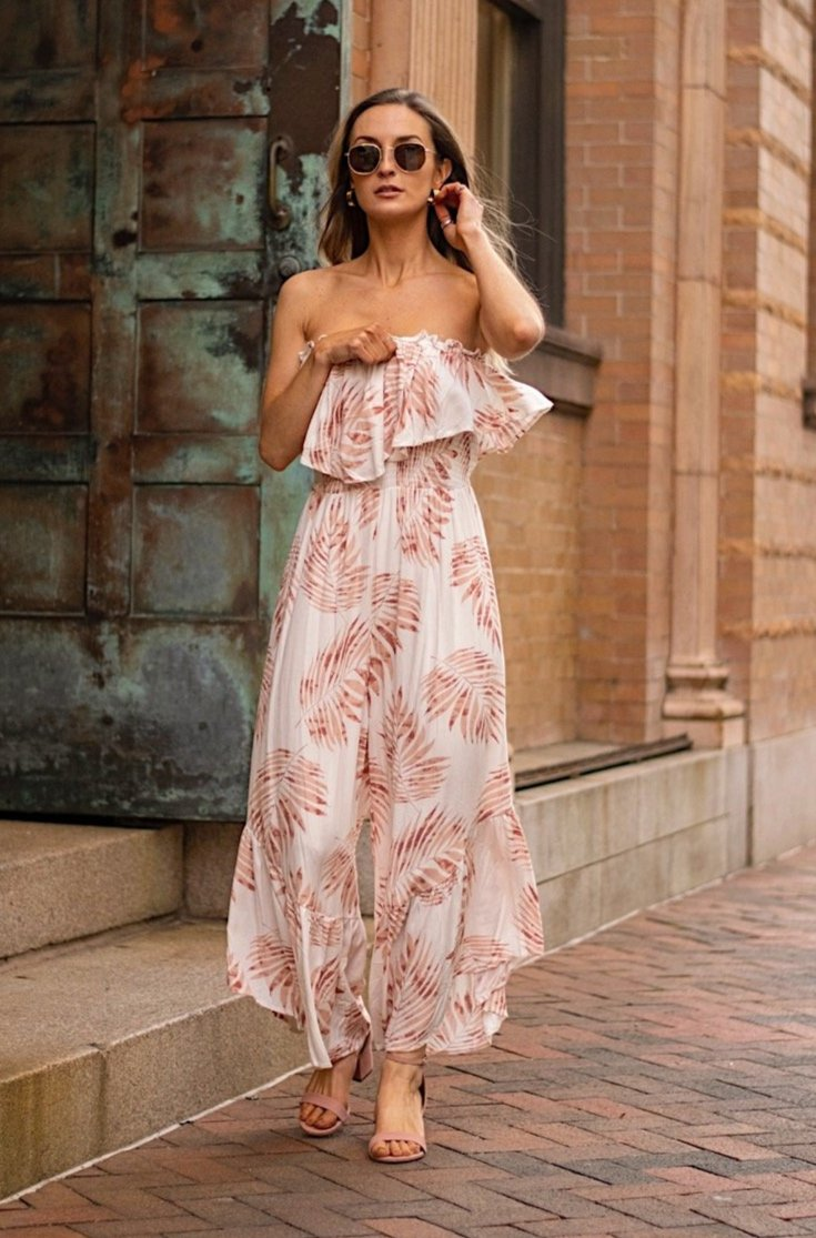 Blush Leaf Print Strapless Jumpsuit - Jumpsuit - LUSH CLOTHING - MOD&SOUL