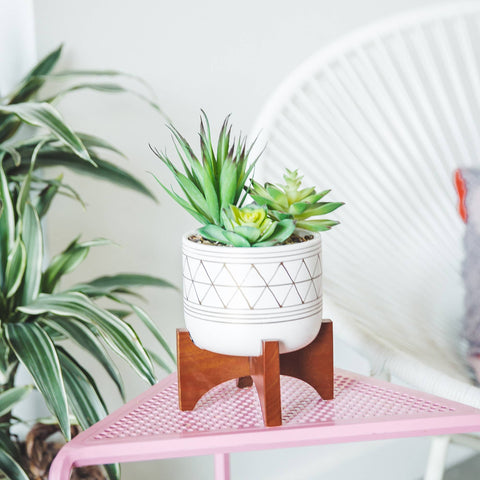 Asher Ceramic Planter on Wood Stand