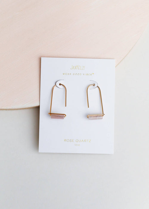 JaxKelly - Rose Quartz Gemstone Drop - Earrings - JaxKelly - MOD&SOUL