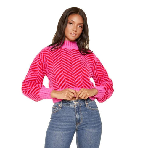 Pink High Neck Sweater - top - Sugarlips - MOD&SOUL