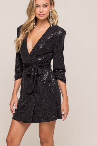 Polka Dot Satin Wrap Dress
