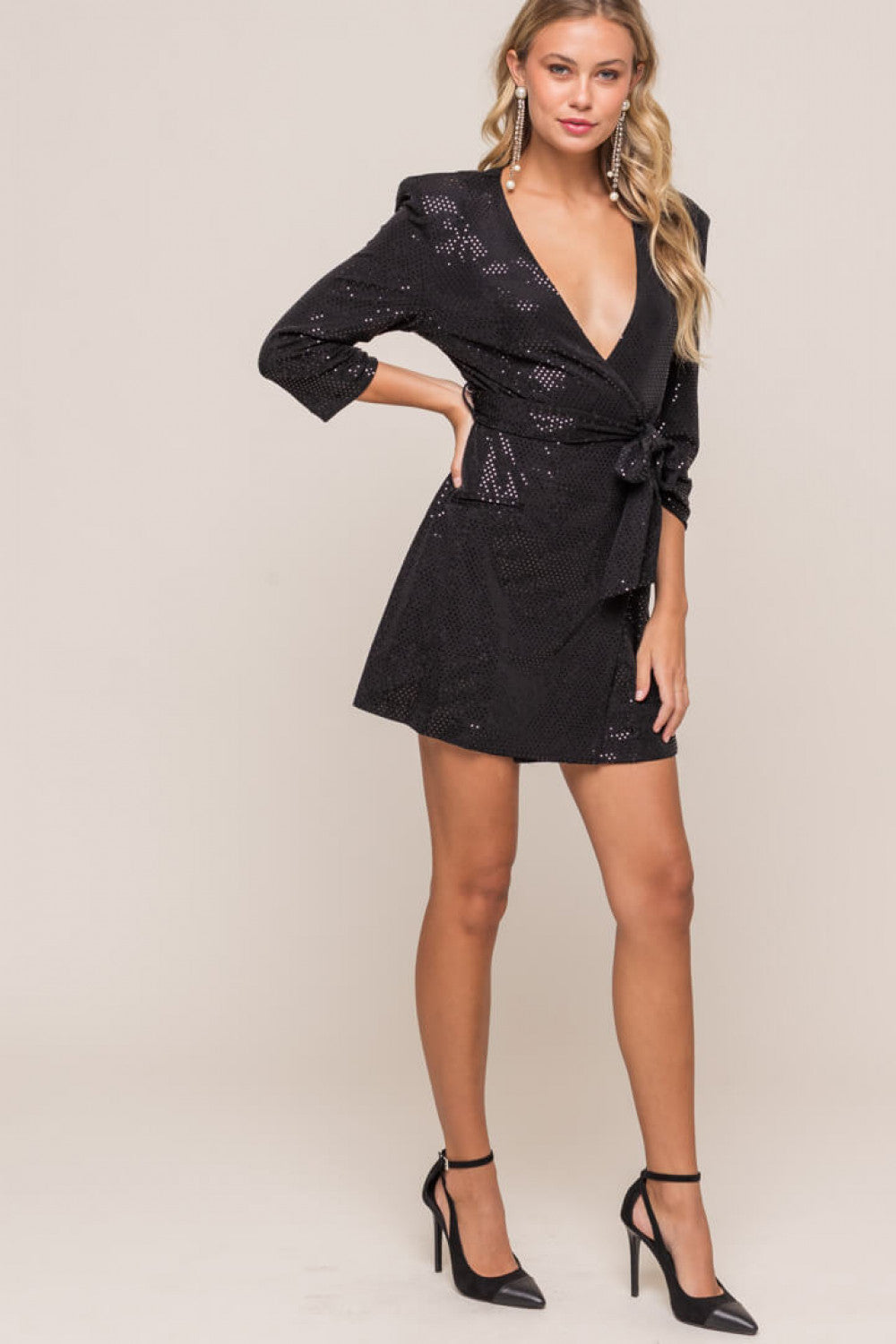 Black Plunging Wrap Mini Dress - Dress - LUSH CLOTHING - MOD&SOUL