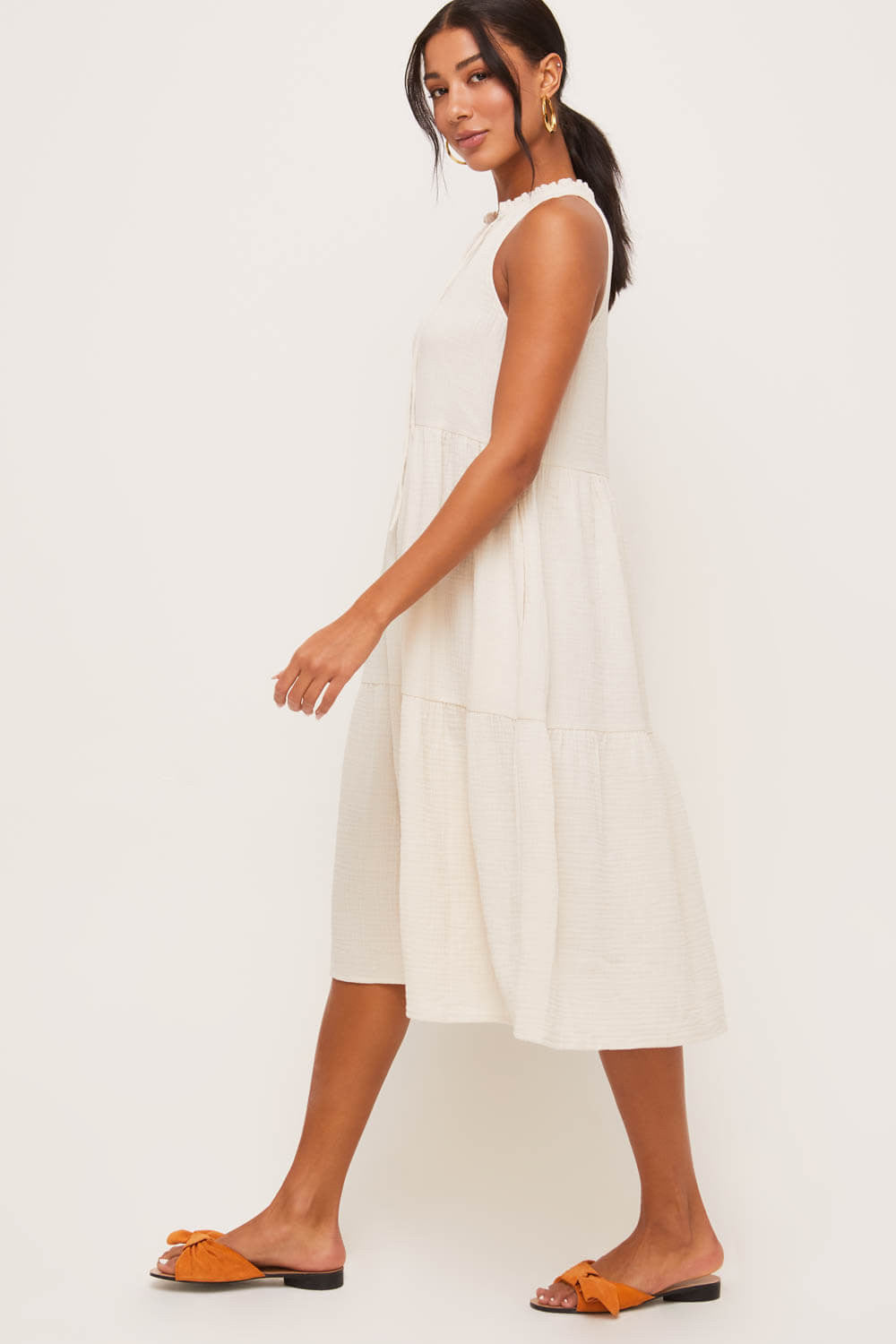 Tiered Crinkled Midi Dress - Dress - LUSH CLOTHING - MOD&SOUL