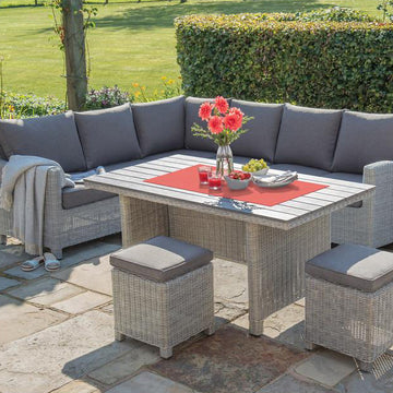 Kettler Palma Corner Right Hand White Wash Wicker Outdoor Sofa Set with Slat Top Table