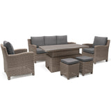 Kettler Palma Rattan Outdoor Casual Dining Lounge Sofa Set with Adjustable S-Q Table