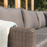 Kettler Palma Corner Right Hand Rattan Outdoor Sofa Set with Fire Pit Table