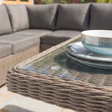 Kettler Palma Rattan Outdoor Casual Dining Lounge Sofa Set with Glass Top Table