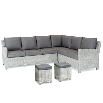 Kettler Palma Corner Left Hand White Wash Wicker Outdoor Sofa Set with Glass Top Table