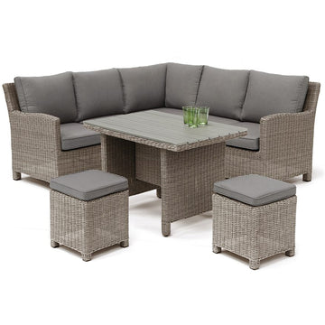 Kettler Palma Mini Corner Rattan Outdoor Sofa Set with Slat Top Table