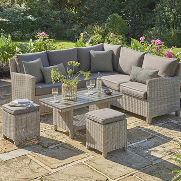 Kettler Palma Mini Corner White Wash Wicker Outdoor Sofa Set with Coffee Table