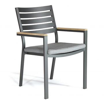 Kettler Elba Teak Arm Aluminium Dining Chair with Cushion