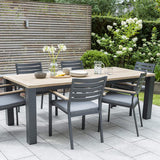 Kettler Elba Teak and Aluminium 6 Seat Rectangular Dining Set 2.2m x 1m