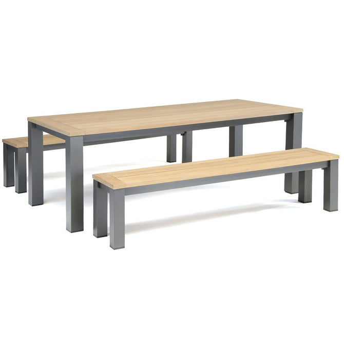 Kettler Elba Teak and Aluminium Rectangular Bench Set 2.2m x 1m