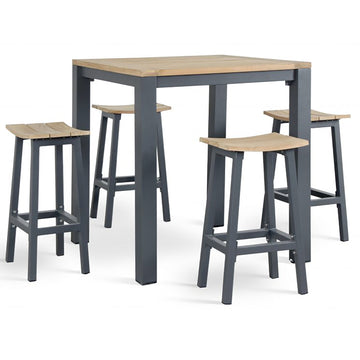 Kettler Elba Teak Top Aluminium High Dining 4 Seat Bar Stool Set