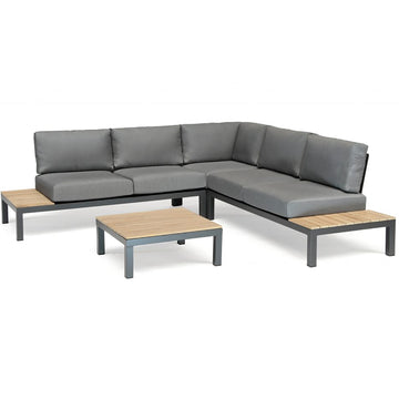 Kettler Elba Teak Top Aluminium Low Corner Lounge Sofa Set with Coffee Table