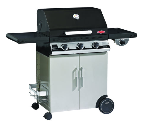 BeefEater Discovery 1100E Series 3 Burner Gas Barbecue with Cabinet Trolley and Side Burner