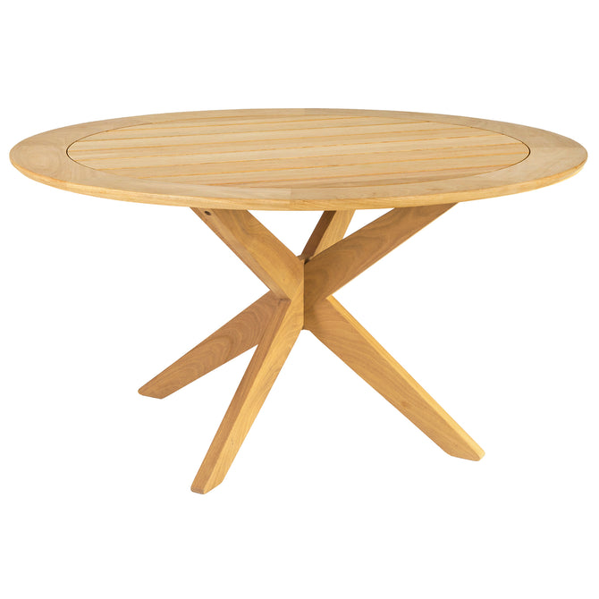 Alexander Rose Roble Round Dining Table with Cross Base - 1.25m