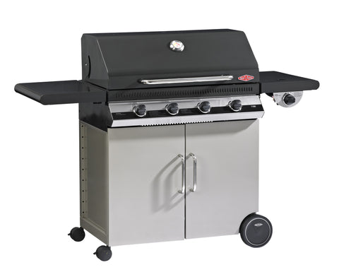 BeefEater Discovery 1100E Series 4 Burner Gas Barbecue with Cabinet Trolley and Side Burner