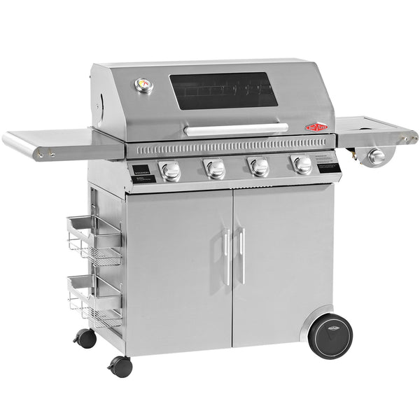 BeefEater Discovery 1100S Series 4 Burner Gas Barbecue with Stainless Steel Cabinet Trolley and Side Burner