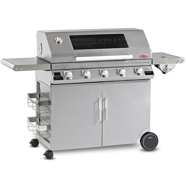 BeefEater Discovery 1100S Series 5 Burner Gas Barbecue with Stainless Steel Cabinet Trolley and Side Burner