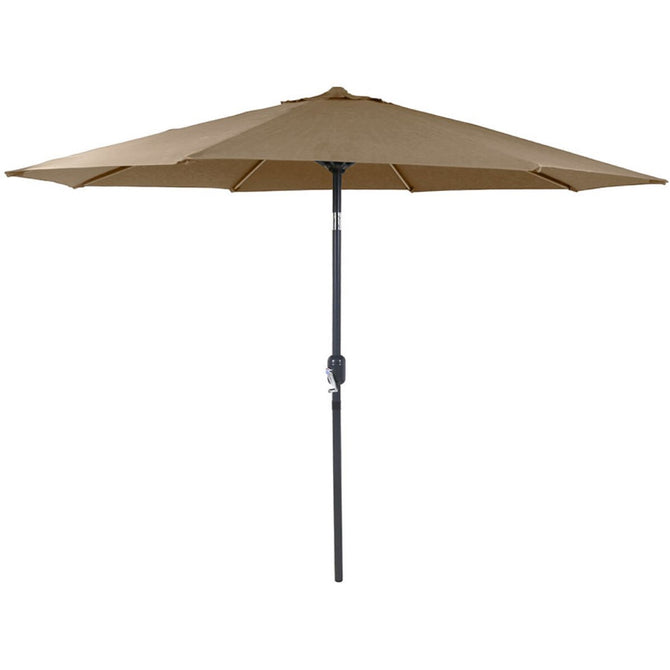 Harbo Taupe 3m Crank and Tilt Round Garden Parasol Graphite pole