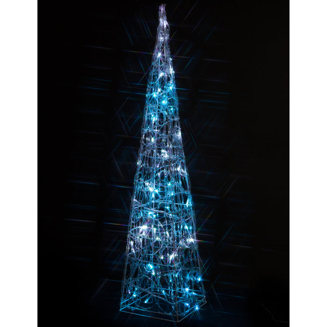 Noma 90cm 80 LED White and Ice Blue Spun Acrylic Twinkling Pyramid
