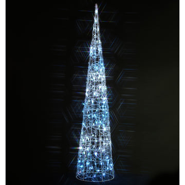 Noma 1.5M 160 LED White and Ice Blue Spun Acrylic Twinkling Cone