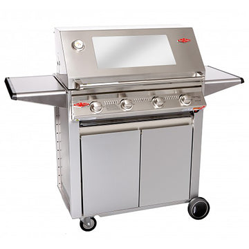 BeefEater Signature 3000S Designer 4 Burner Gas Barbecue with Stainless Steel Cabinet Trolley and Side Burner