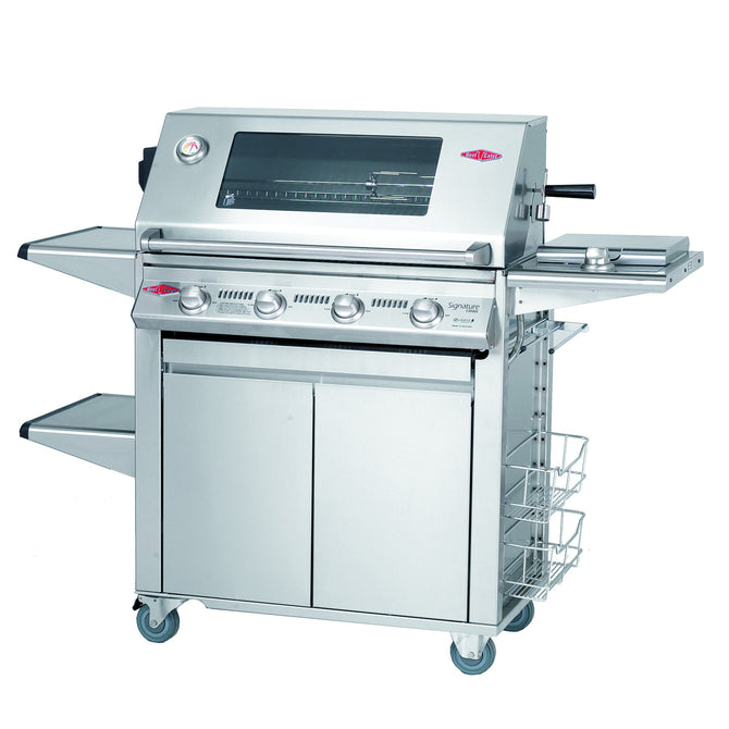 BeefEater Signature S3000S Plus 4 Burner Stainless Steel Gas Barbecue with Cabinet Trolley and Side Burner