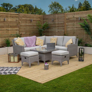 Bracken Outdoors Venice Compact Corner Rattan Outdoor Sofa Set with Adjustable Table