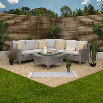 Bracken Outdoor Venice Curved Rattan Lounge Corner Outdoor Sofa Set with Ice Bucket Table.