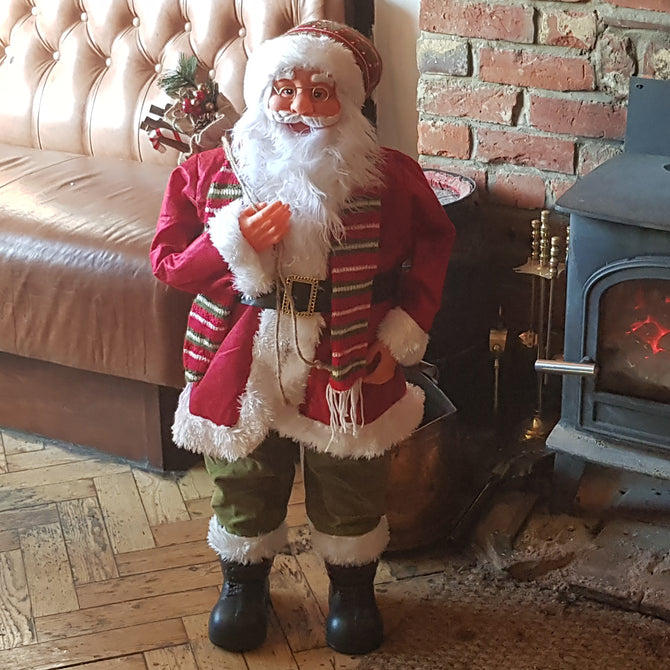 2ft (60cm) Traditional Standing Santa Father Christmas Figure with Scarf and Sack