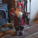 3ft (90cm) Traditional Standing Santa Father Christmas Figure with Sticks and Sack