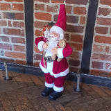 2ft (60cm) Traditional Standing Santa Father Christmas Figure with Teddy Bear and Sack